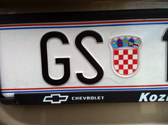 Croatian Number Plate